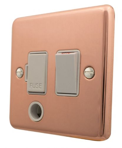 G&H CBC56W Standard Plate Bright Copper 1 Gang Fused Spur 13A Switched & Flex Outlet